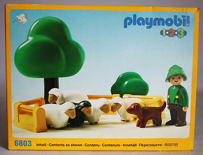 Very Rare Vintage 1990 Playmobil 1 2 3 Boy Dog & Sheeps 6803 New Sealed Misb !