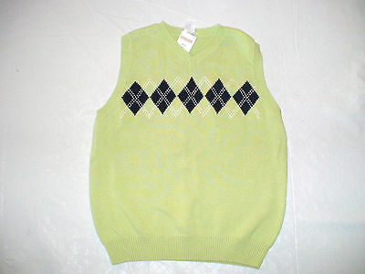 Nwt Gymboree Spring Celebrations Green Navy Argyle Sweater Vest Easter