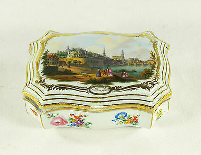 Antique 18 century Germany  Meissen Porcelain  Hand Painted  Dresden Box