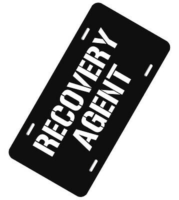 Recovery Agent Aluminum License Plate