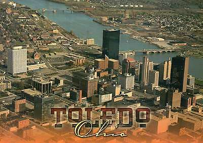 Aerial View of Downtown Toledo Ohio, Maumee River goes to Great Lakes - Postcard