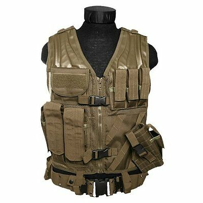 US MOLLE ARMY CROSSDRAW TACTICAL Combat  ASSAULT Einsatz Weste Vest USMC Coyote