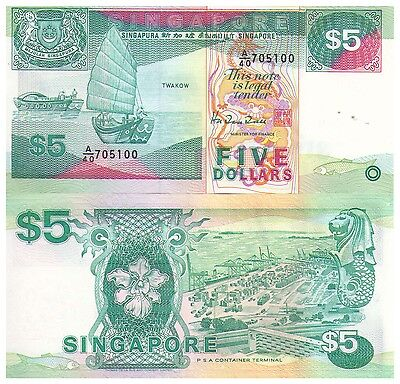 1989 $5 Singapore Banknote - Grade Uncirculated - Pick 19