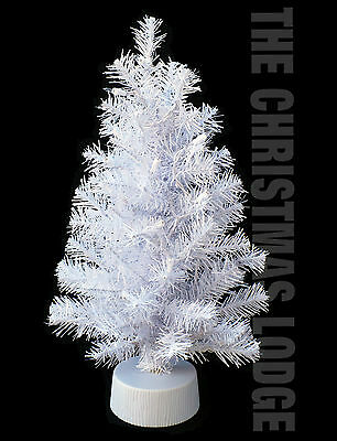ARTIFICIAL TABLE TOP WHITE CHRISTMAS TREE / ARRIVES FULLY ASSEMBLED with LIGHTS!