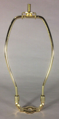 """7 1/2"""" Brass Plated Lamp Harp with Base & Protective Coating, regular weight"""