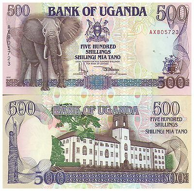 1991 500 Shillings Uganda Banknote - Uncirculated - Pick 33A