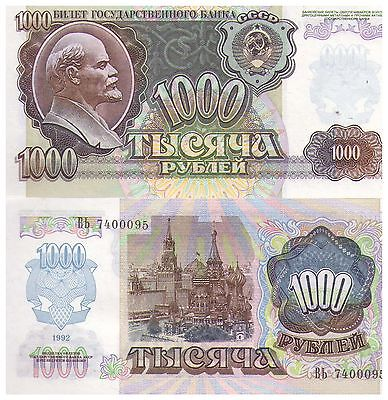 1992 1000 Russia Ruble Banknote - Uncirculated - Pick 250
