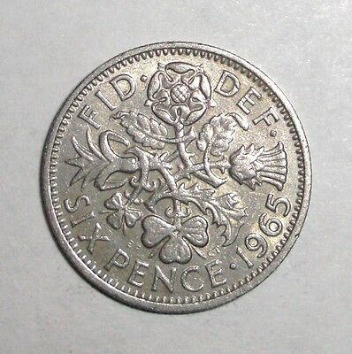 Great Britain 6 pence, Leek, Rose, Thristle, Shamrock, flowers coin