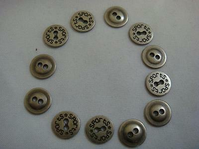 1 dozen of silver metal color 2 hole engraved sports embossed metal Button. 12mm