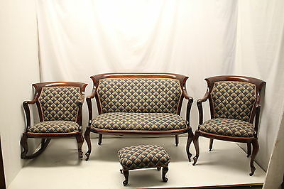 English Queen Ann 4 Pieces living room Set Loveseat Rocking & Arm Chair Ottoman