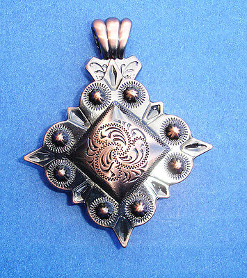Western Jewelry Antique Square Black Copper Engraved Concho Pendant Kit