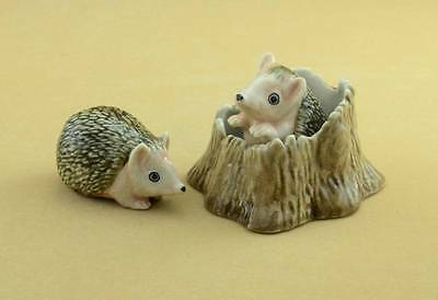 TWO CUTE HEDGEHOG AND TRUNK FIGURINES THEY ARE LOVELY W/B0X POPULAR *Mint*