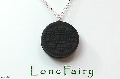 Polymer Clay Oreo Biscuit Silver Plated Chain Necklace Food  Kitsch 18""