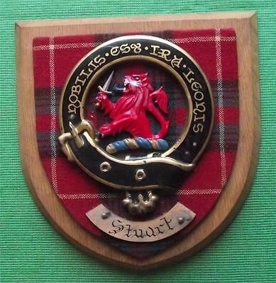 Old Scottish Carved Oak Clan Stuart Coat  Arms Plaque Crest Shield
