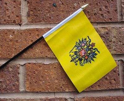"""RUSSIAN IMPERIAL HAND WAVING FLAG small 6"""" x 4"""" with 10"""" pole RUSSIA"""