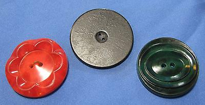 Vtg Red Raised Flower Green Elliptical Groove Flat Black Dial Large Button 3 Lot