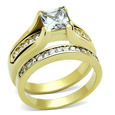 Womens 14K Gold Plated Princess CZ Stainless Steel Anniversary Wedding RING SET