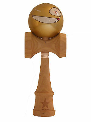 Gold Face Super Kendama, Super Sticky, Japanese Wooden Toy, USA Seller