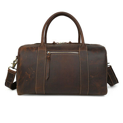 Men's Women's Real Leather Travel Bag Suitcase Shopping Gym Weekend Overnight