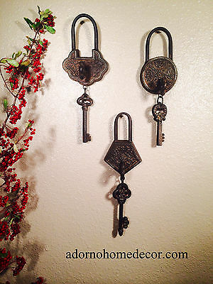 Metal Iron Victorian Skeleton Keys With Lock Keyhole Rustic Antique Wall Decor