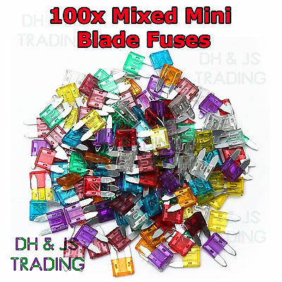 100x Mixed Mini Blade Fuses Assorted 10 x 30 a - 2a Car Fuse ATM Motorbike Boat