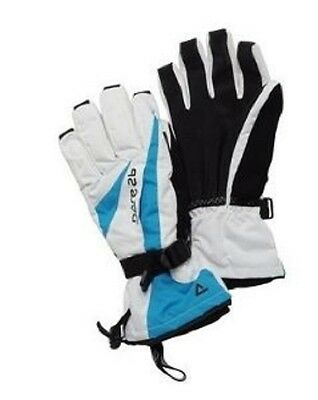Women's Dare2B 'pursue' White And Blue Waterproof And Breathable Ski Gloves.