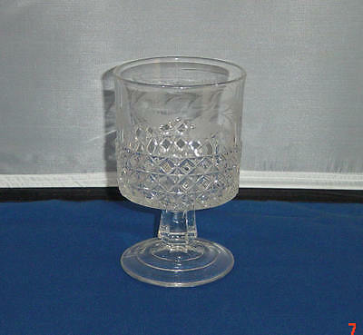 EAPG CRYSTAL ETCHED MASCOTTE SUGAR BASE RIPLEY & CO 1874