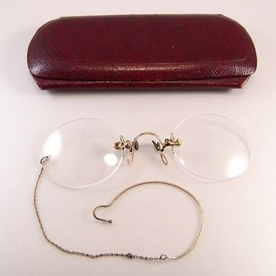 Hard Bridge Pince Nez Antique Eyeglasses Yellow 10 K Gold Original Case Chain