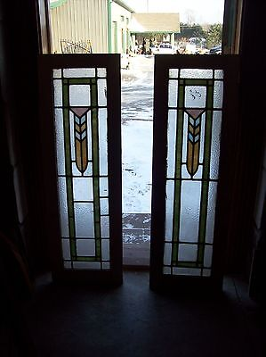 pair arts ad crafts stained glass cabinet doors   (Sg 1523)