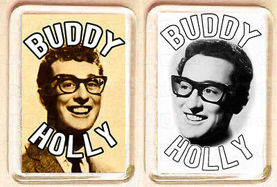 BUDDY HOLLY pair of  SMALL FRIDGE MAGNETS - CLASSIC COOL!