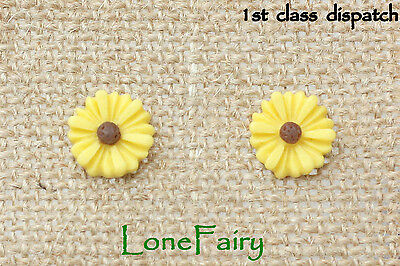 Gorgeous Yellow Sunflower Silver Plated Stud Earrings Daisy Flower Summer