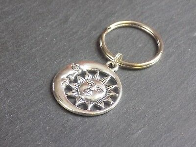 Round Sun and Moon Keyring Silver Plated Bag Charm Key Chain