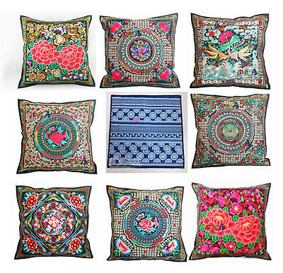 Wholesale10pcs Chinese Vintage Ethnic Embroider Flax Cushion Covers Pillow Cases