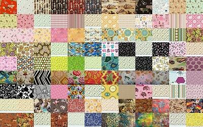 "100 Assorted Quilt Fabrics in 1 Charm Pack,  5"" Cotton Quilt Squares (Block)"