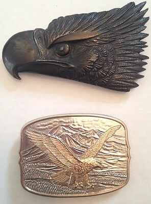 2 Vintage American Bald Eagle BELT BUCKLES-gold,silver,iron-Hallmarked!