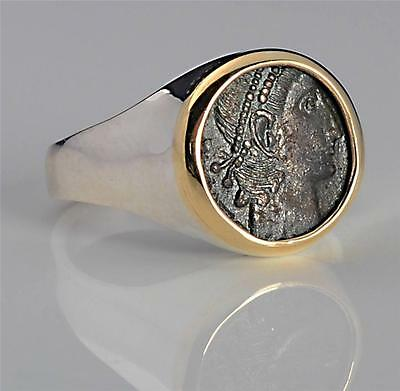 Ancient Roman Bronze Coin in Ladies 14kt Gold & S/S Ring  size 7   A.D. 336-361