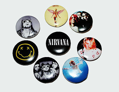 8 piece lot of Nirvana pins buttons badges