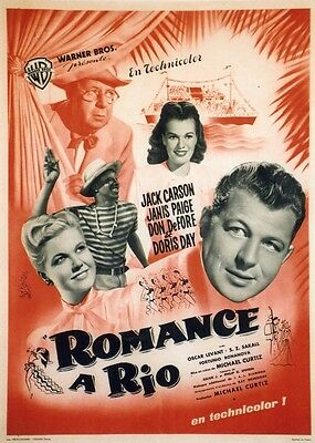 """ROMANCE A RIO (ROMANCE IN THE HIGH SEAS)"" Affiche ent. Michael CURTIZ,Doris DAY"