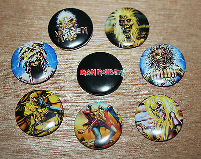 8 piece lot of Iron Maiden  pins buttons badges