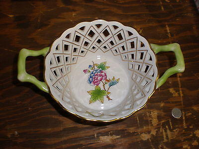 HEREND Hungary Floral Open Weave Handled Basket