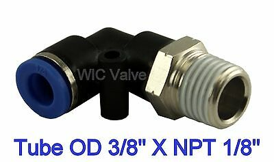 """5pcs Pneumatic Male Elbow Air Push In Fitting Tube OD 3/8"""" X NPT 1/8"""" One Touch"""