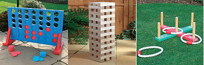 New 3In1 Garden Lawn Bbq Party Games Giant Jenga Tower Connect 4 In A Row Quoits