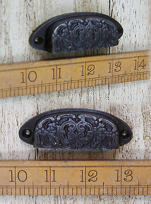 2 x DAINTY Cast Iron Victorian Style 96mm Antique Iron Repro Cup Handle Small
