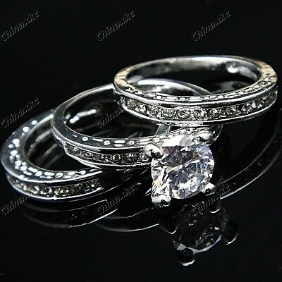 Wholesale 15pcs Upscale Jewelry CZ White Gold GP Womens Engagement Wedding Rings