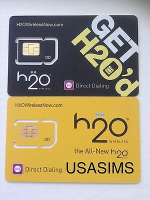US USA h2o STANDARD SIM CARD WORKS ON AMERICAS BIGGEST NETWORK AT&T
