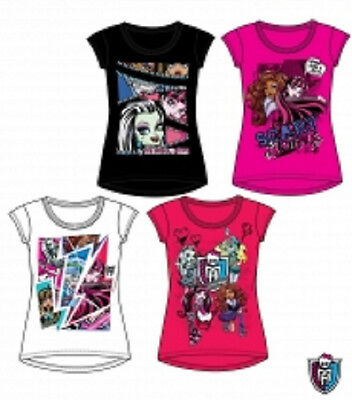 Monster High T-Shirt, Gr.128, 140, 152, 164, schwarz, pink, weiß, rot
