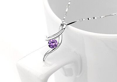 Sterling Silver Necklace Chain Purple Amethyst Crystal Angel Love Pendant  G18