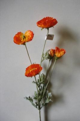 12 New Stems Orange Poppy Sprays Artificial Silk Flowers Superb Reproduction