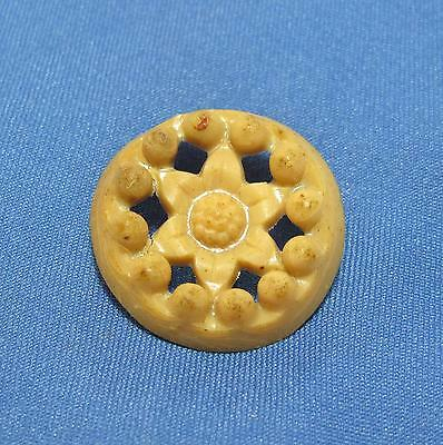 Vintage Flower Center Raised Bead Edge Openwork Tan Brown Plastic Small Button