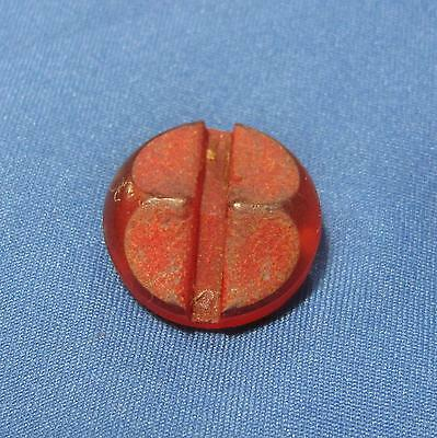 Vintage Round Textured Cut Away Center Transparent Red Plastic Small Button